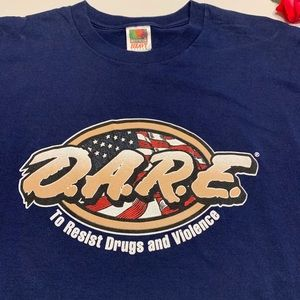 Fruit of the Loom Shirts - D.A.R.E. Mens XL 100% Cotton Blue Short Sleeve Tee